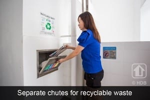 HDB Eco-friendly separate chutes for recyclable waste