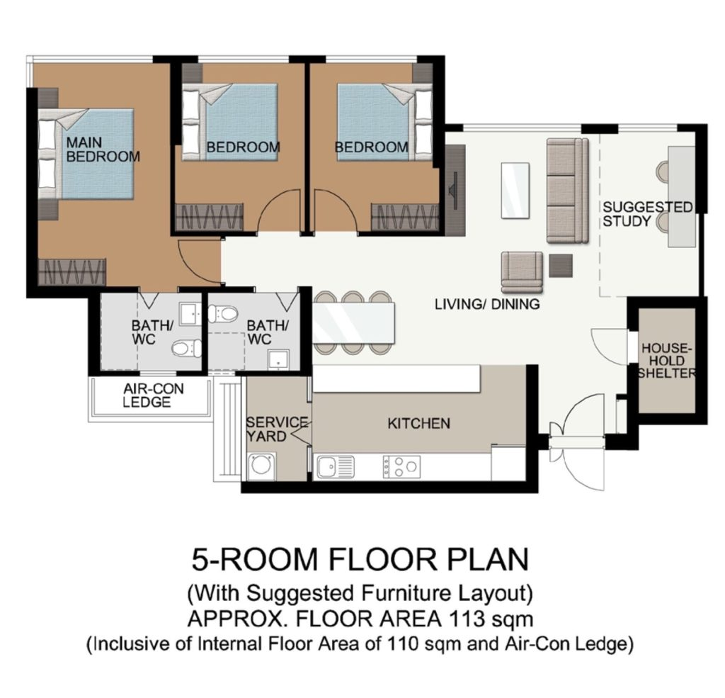 Fernvale Acres Floor Plan 5 room Type A