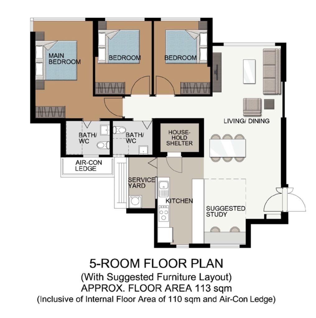 Fernvale Acres Floor Plan 5 Room Type B
