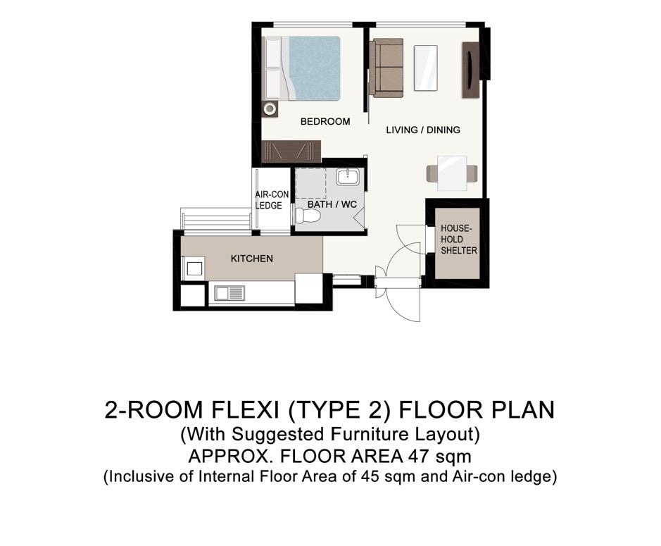Boon Lay 2-Room Floor Plan