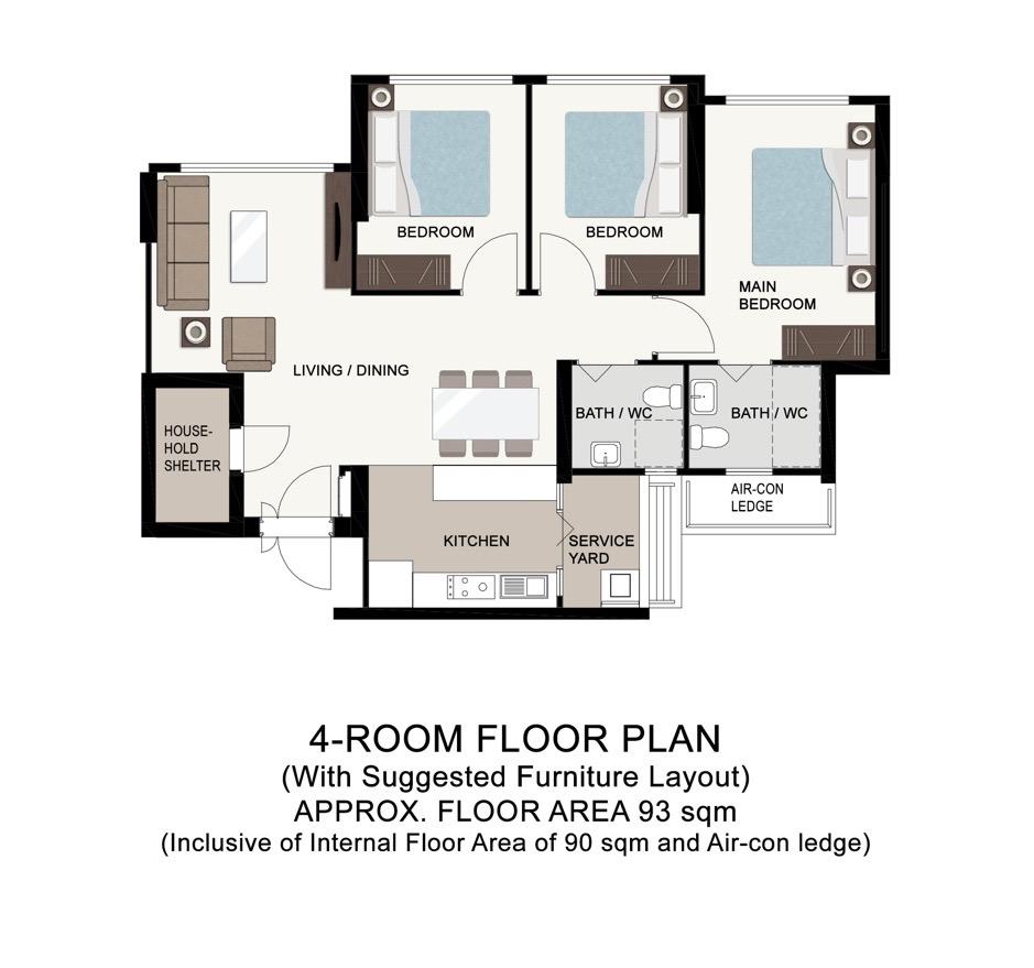 Boon Lay Glade 4-Room Floor Plan