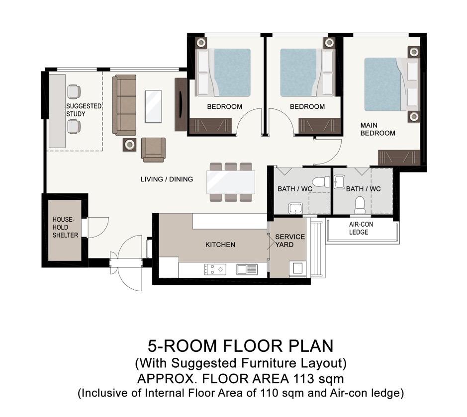 Boon Lay Glade 5-Room Floor Plan