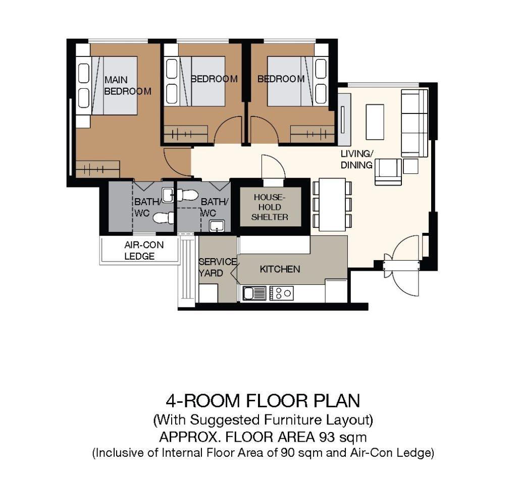 Kallang Whampoa Floor Plan 4-Room
