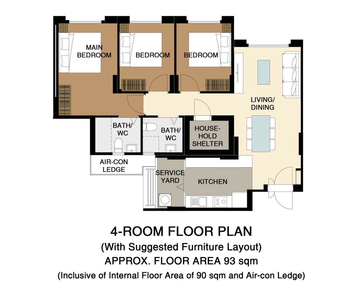 Fernvale Vines Floor Plan 4-Room