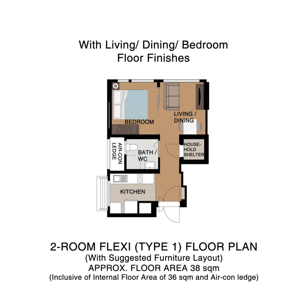 Champions Green BTO Floor Plan 2-Room Flexi 1B