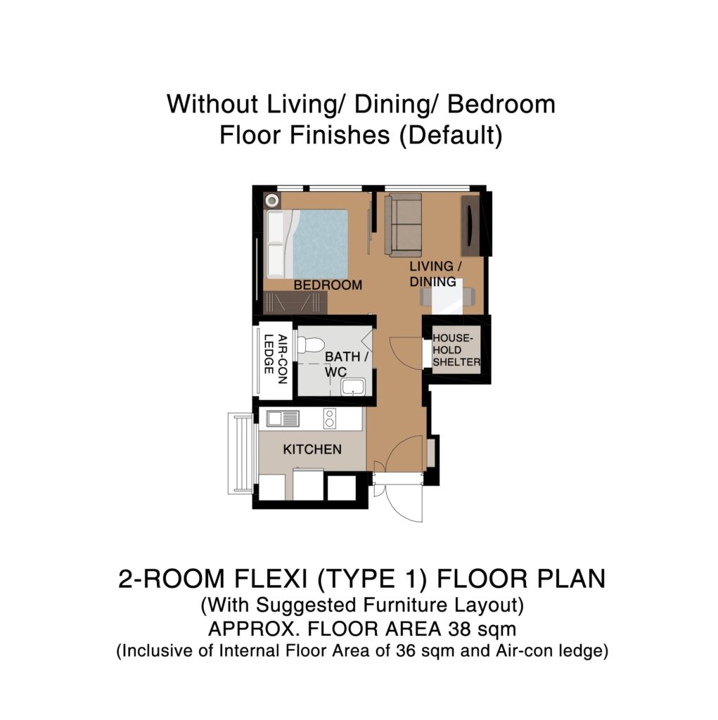Champions Green BTO Floor Plan 2-Room Flexi Type 1A