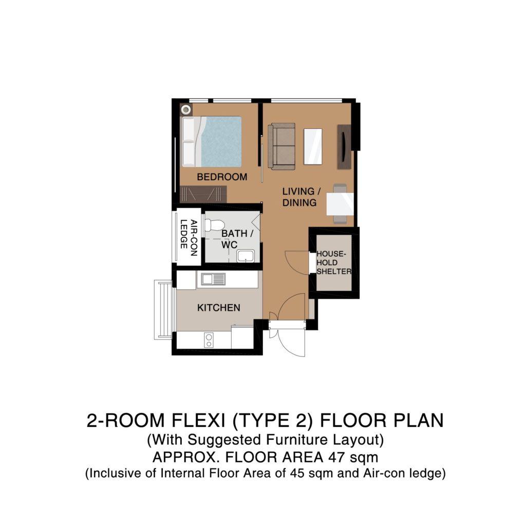 Champions Green BTO Floor Plan 2-Room Flexi Type 2