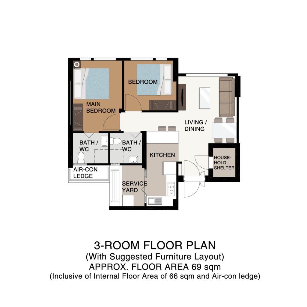 BTO Champions Green Floor Plan 3-Room