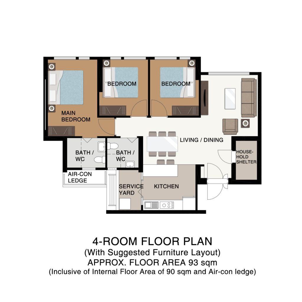 Champions Green BTO Floor Plan 4-Room
