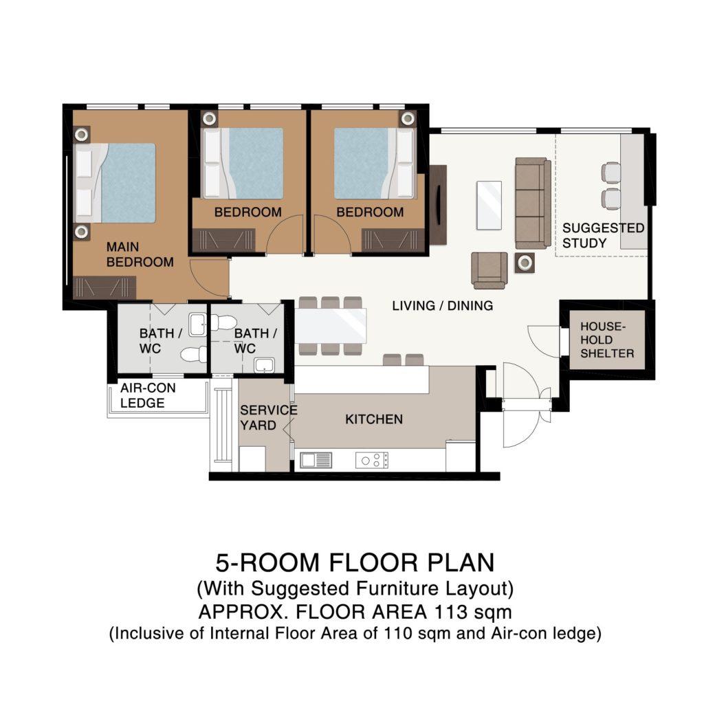 Champions Green BTO Floor Plan 5-Room