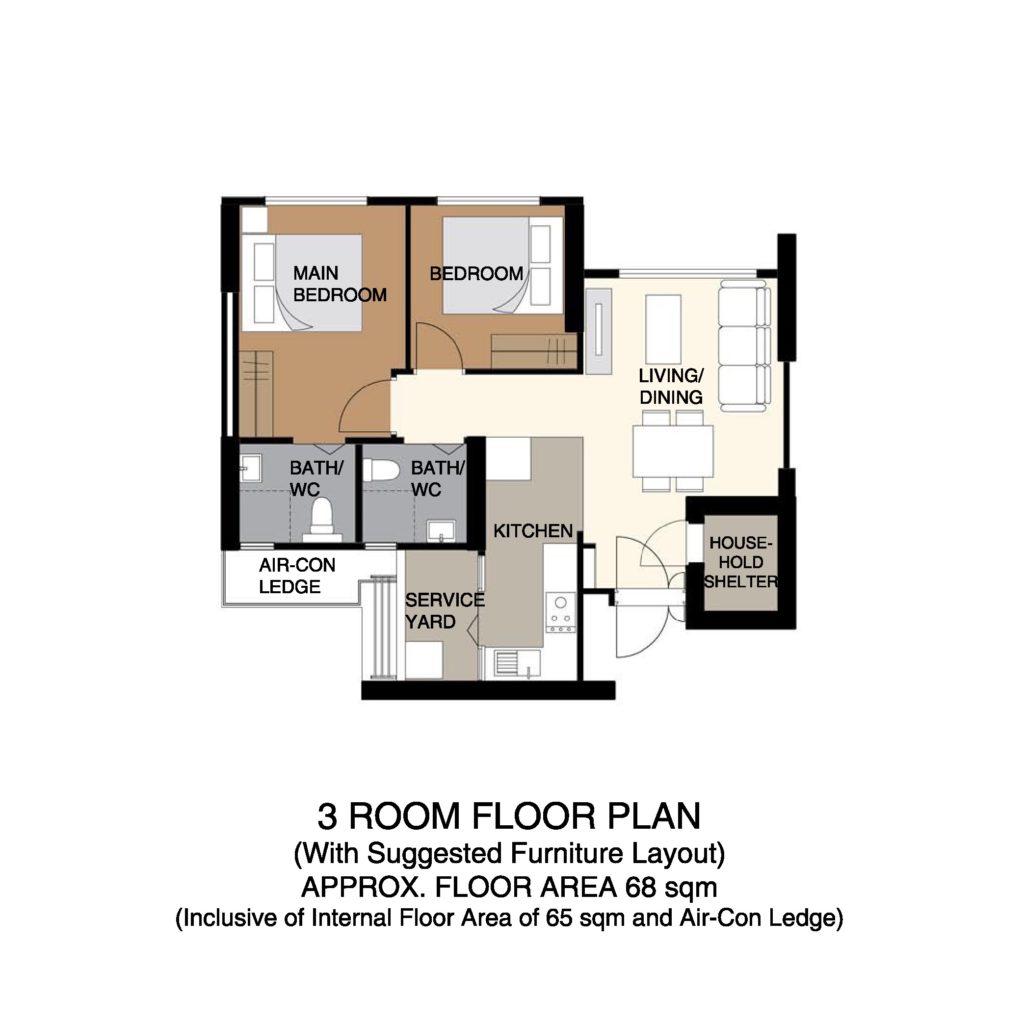 Kempas Residences Floor Plan 3-Room