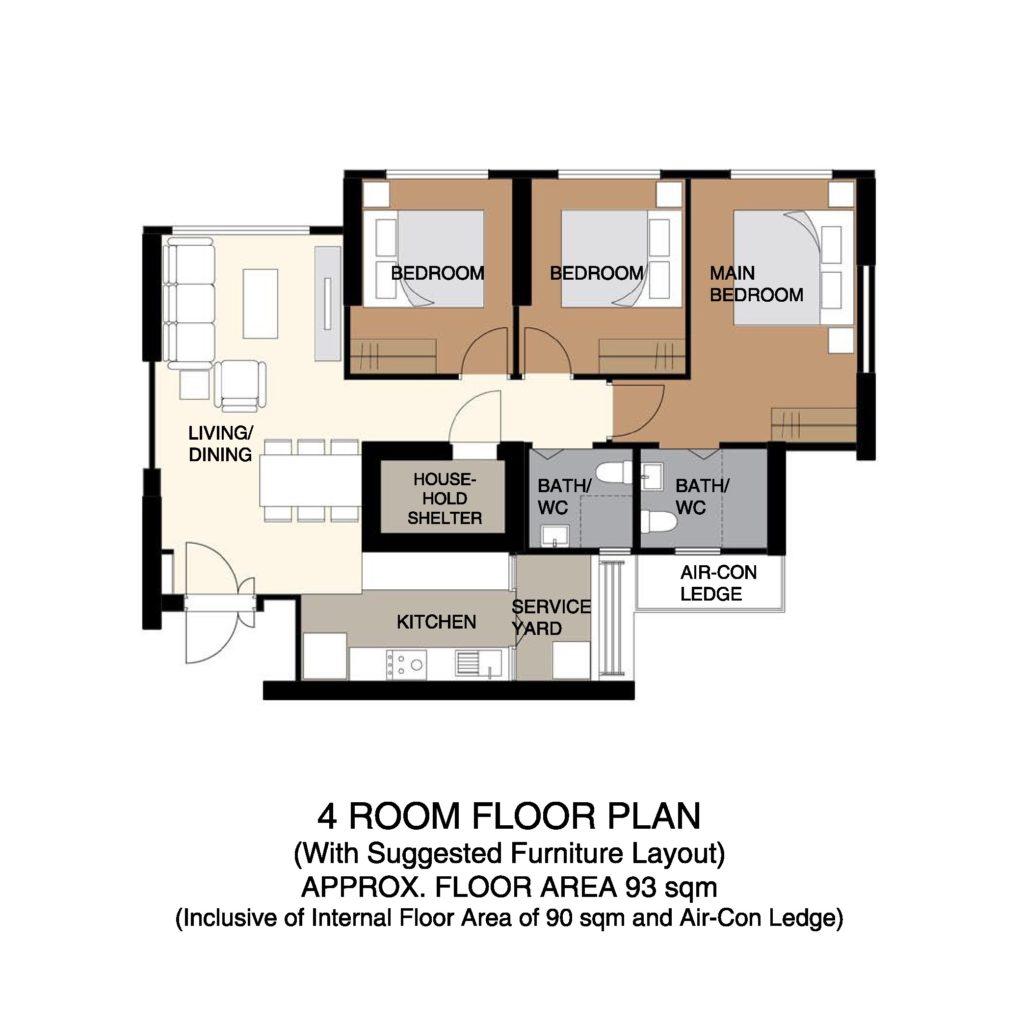 Kempas Residences Floor Plan 4-Room