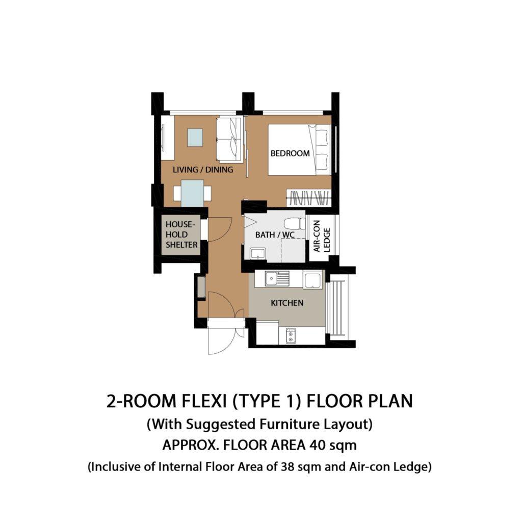 Garden Vale @ Tengah Floor Plan 2-Room Flexi Type 1