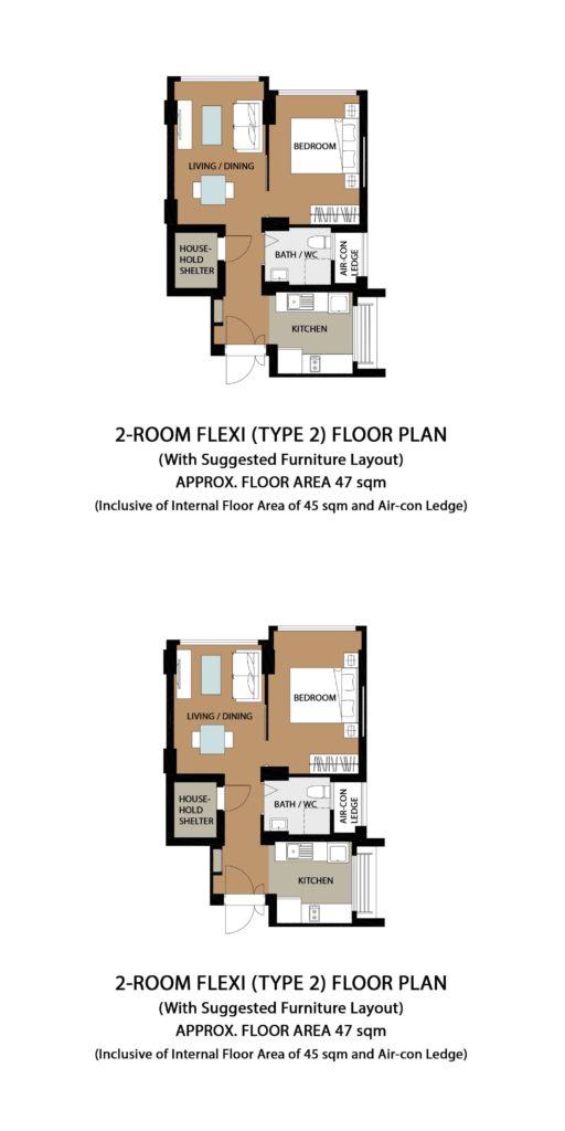 Garden Vale @ Tengah Floor Plan 2-Room Flexi Type 2