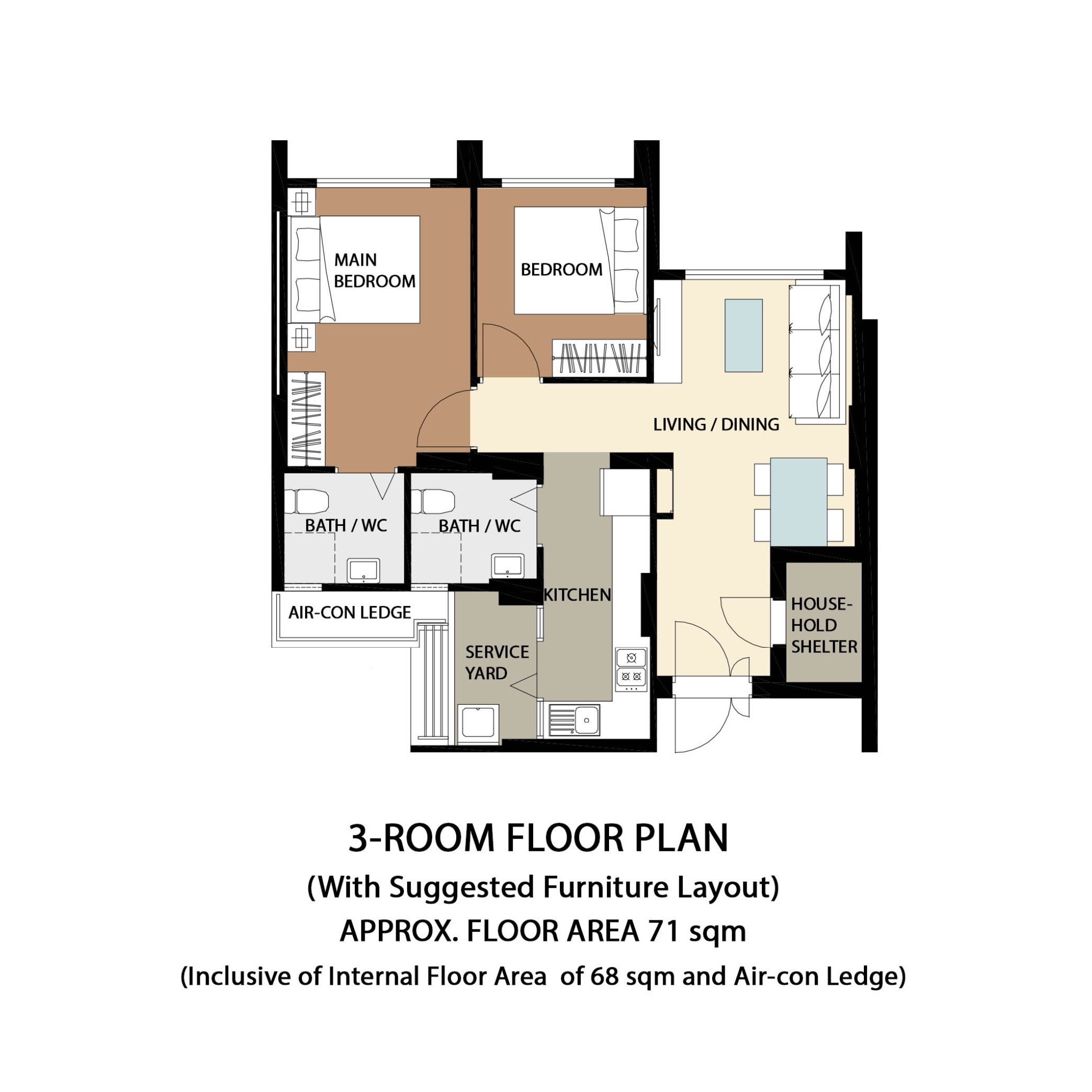 Garden Vale @ Tengah Floor Plan 3-Room