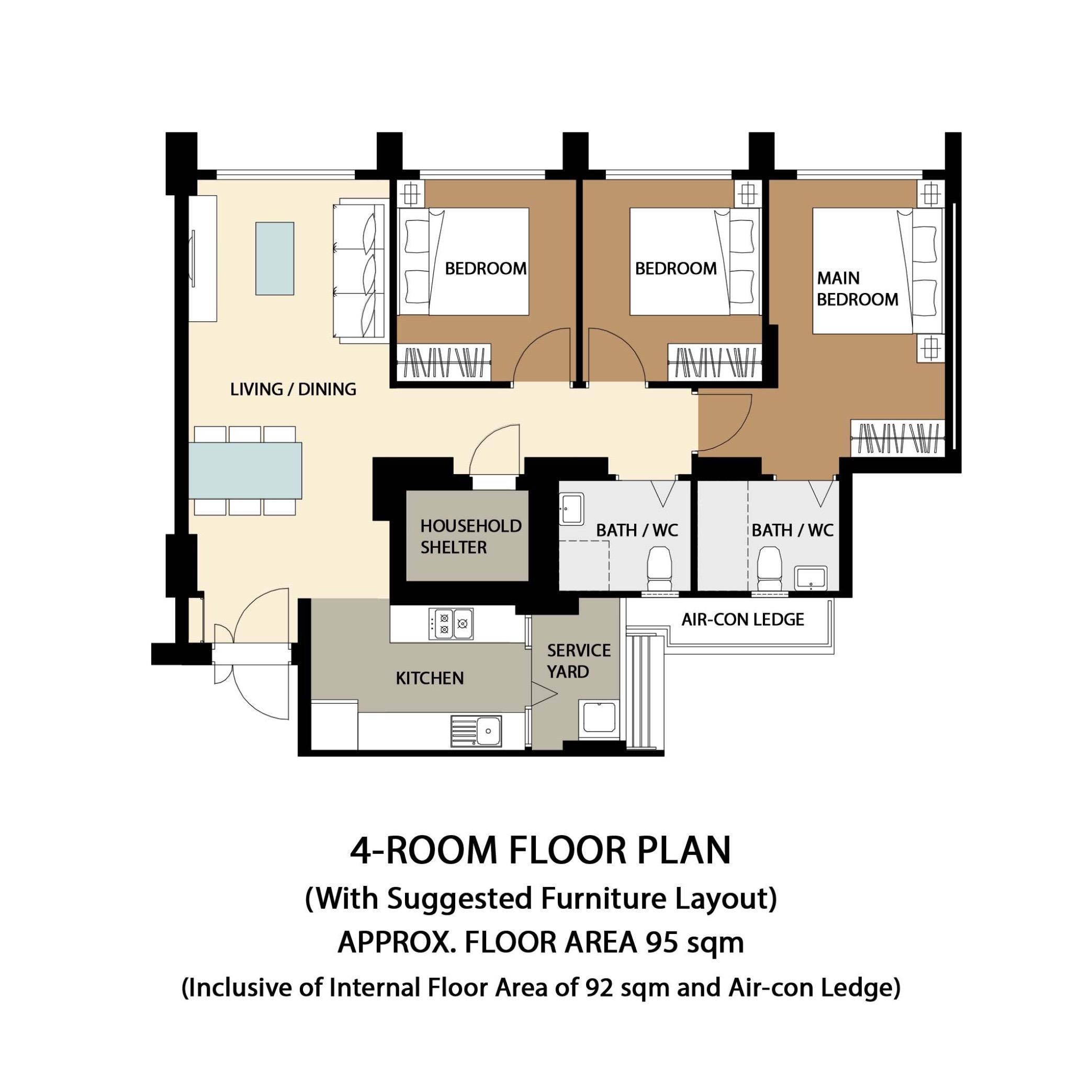 Garden Vale @ Tengah Floor Plan 4-Room