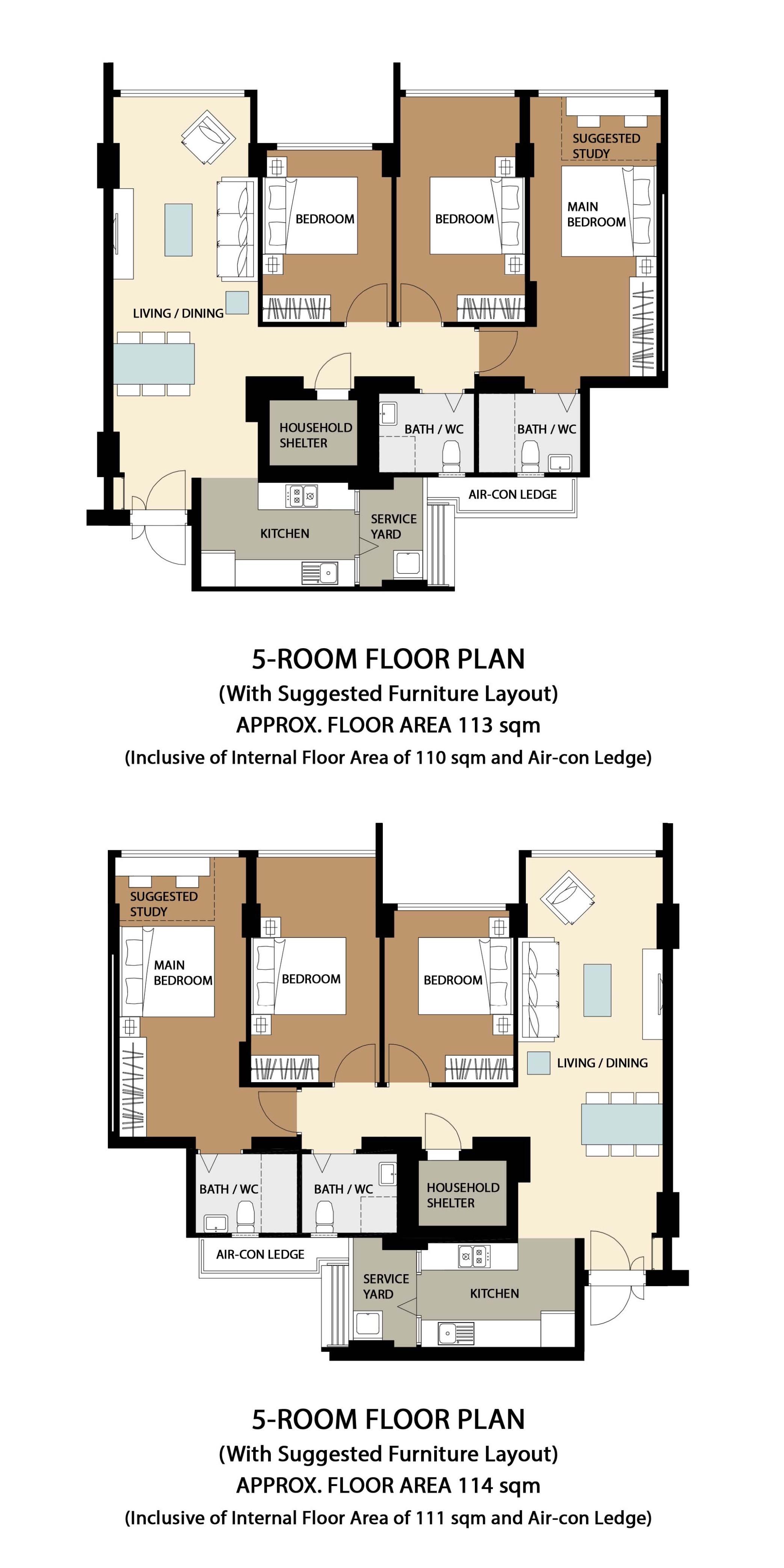 Garden Vale @ Tengah Floor Plan 5-Room A1