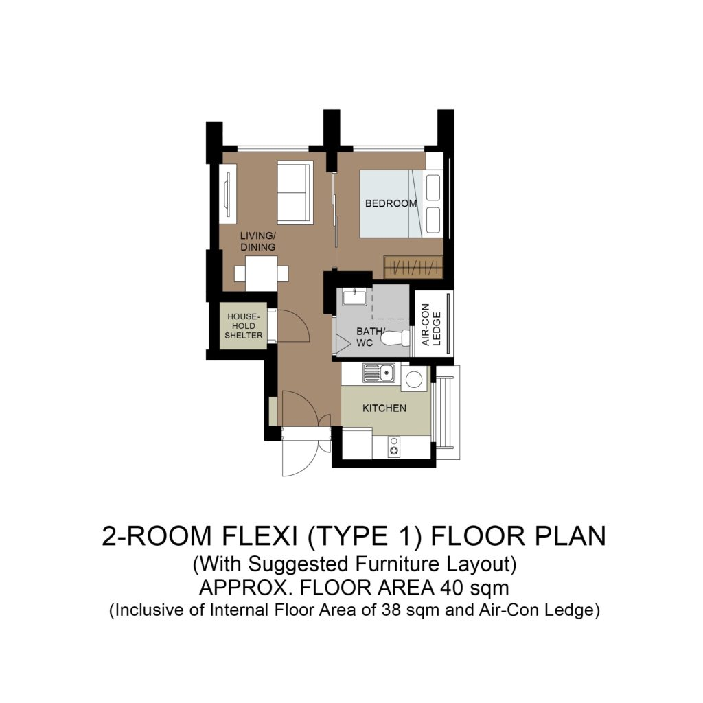 Plantation Acres Floor Plan 2-Room Flexi Type 1