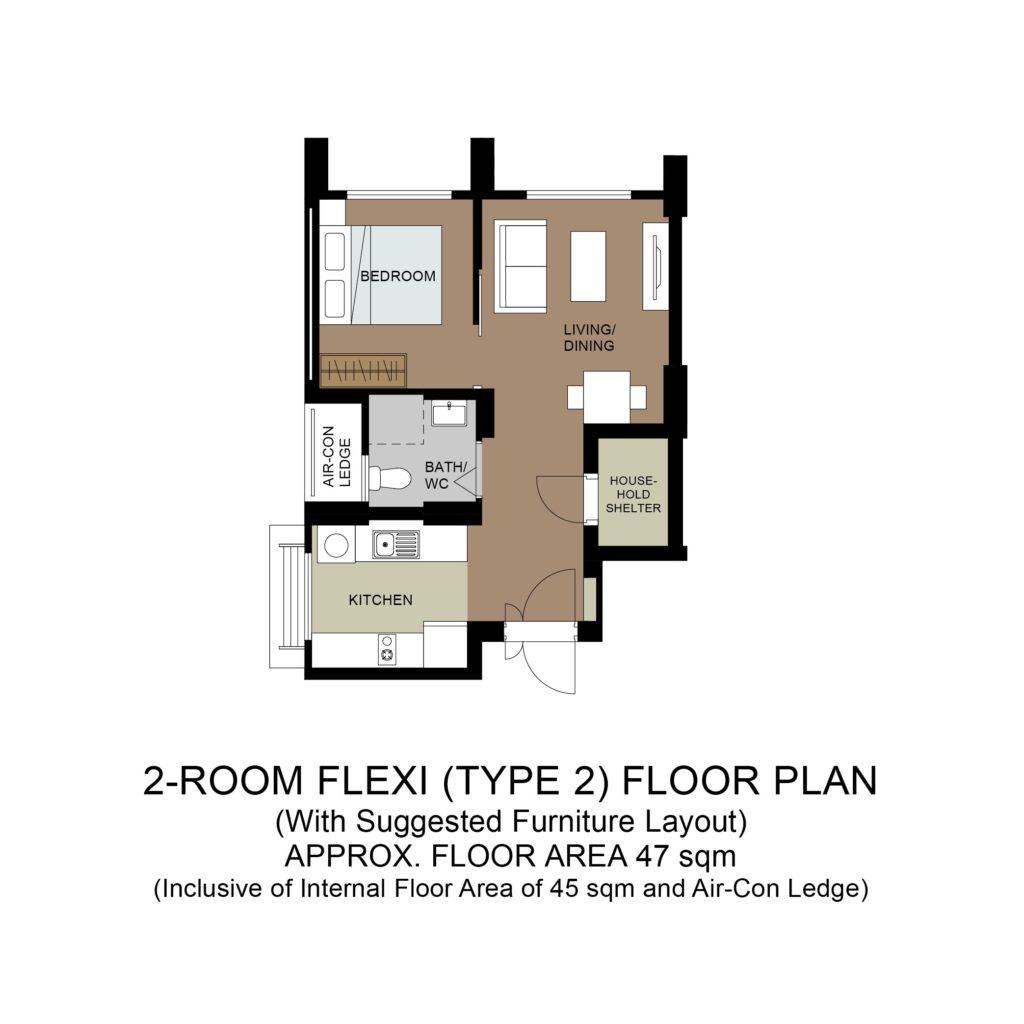 Plantation Acres Floor Plan 2-Room Flexi Type 2