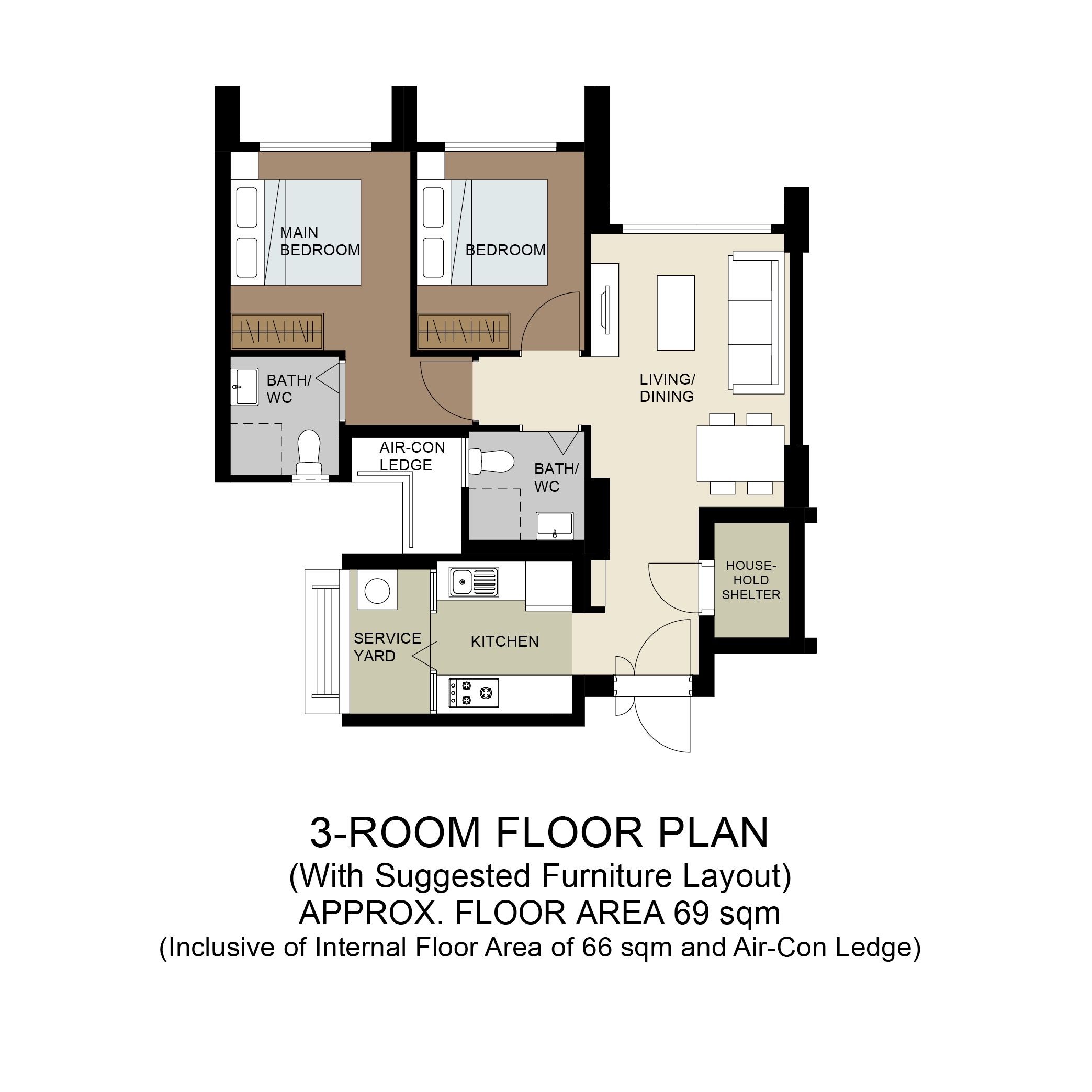 Plantation Acres Floor Plan 3-Room