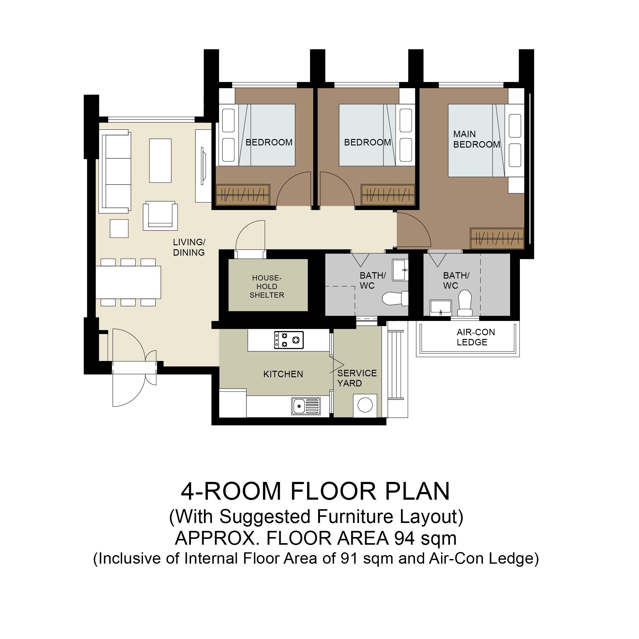 Plantation Acres Floor Plan 4-Room