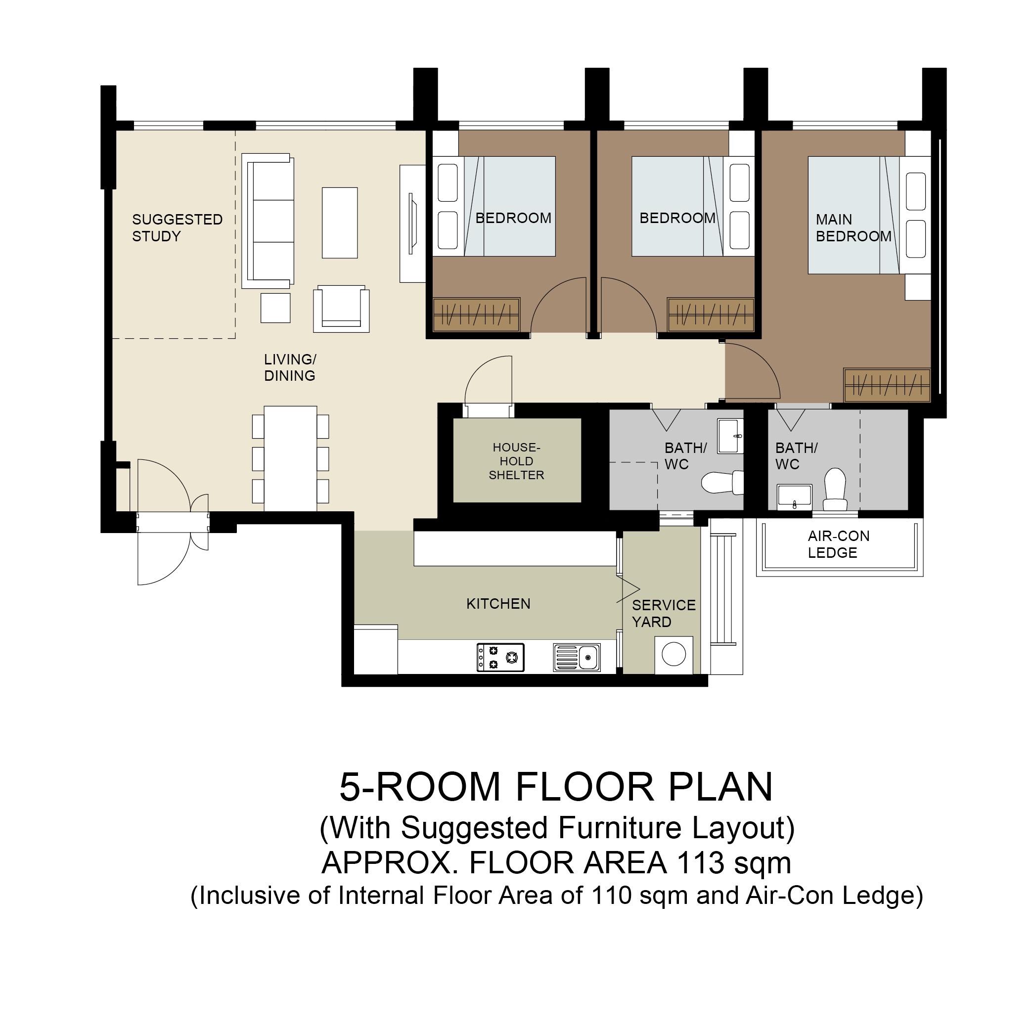 Plantation Acres Floor Plan 5-Room