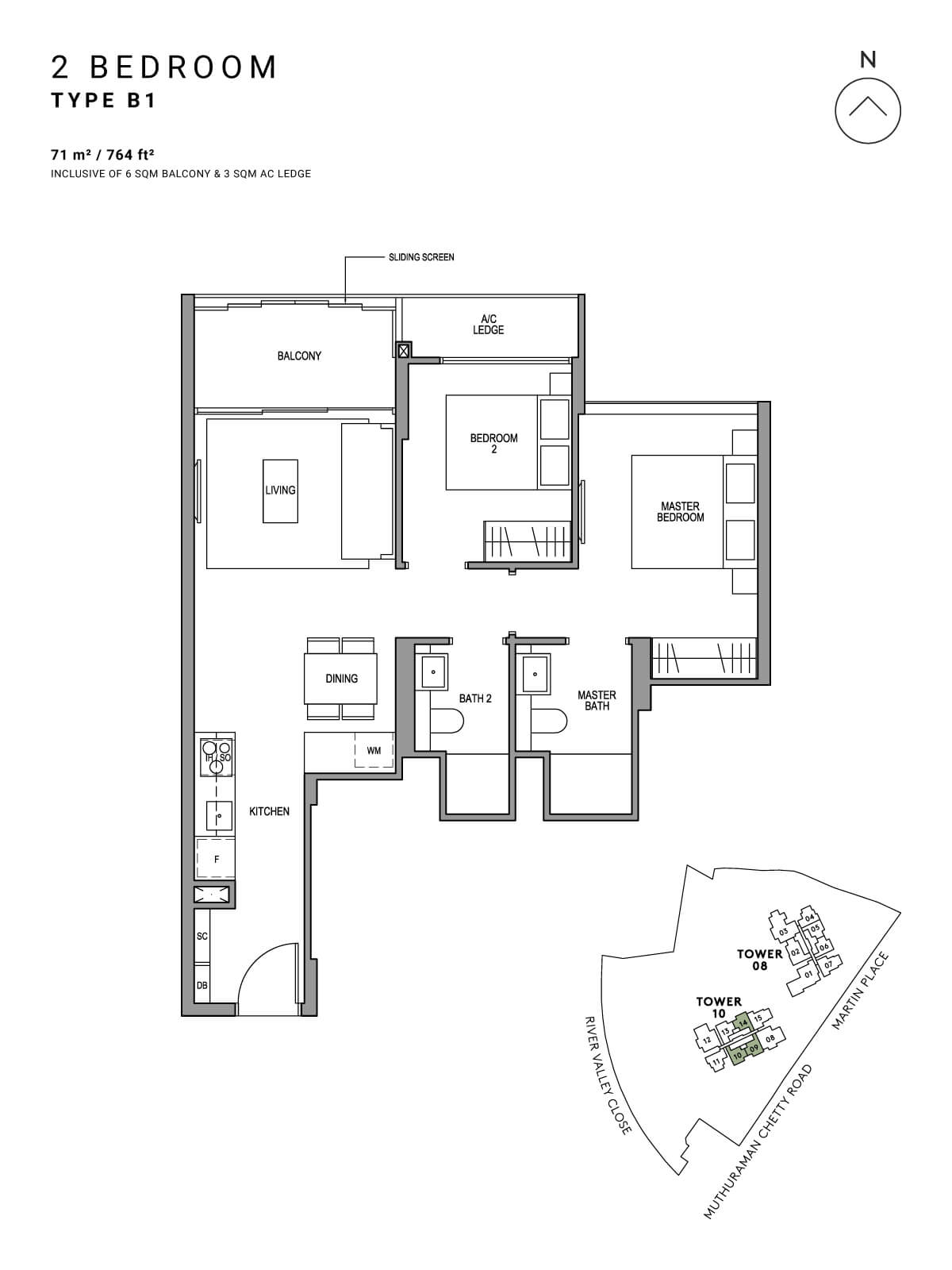 Martin Modern Floor Plan 2 Bedroom Type B1