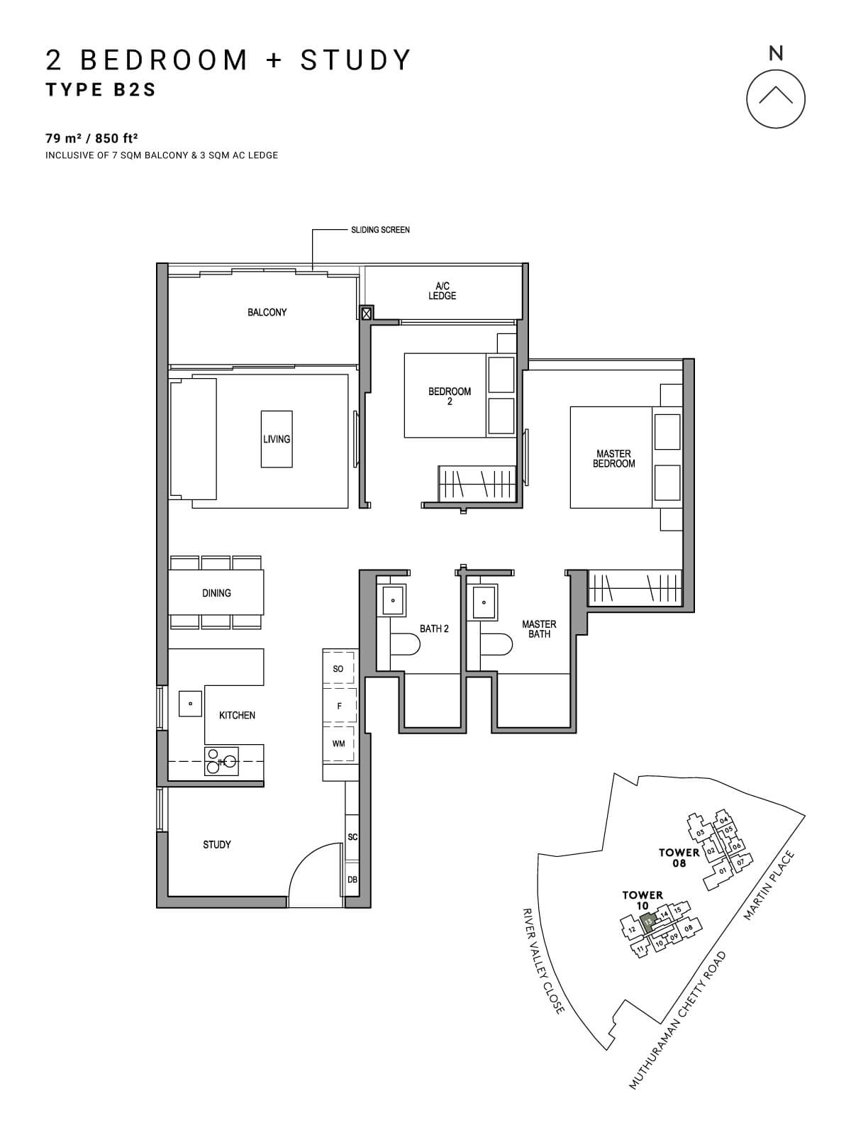 Martin Modern Floor Plan 2 Bedroom + Study Type B2S