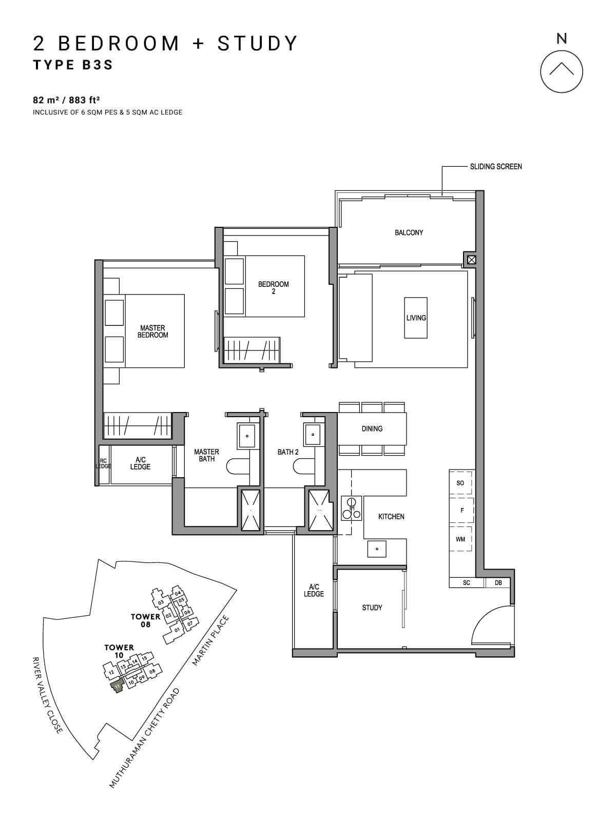 Martin Modern Floor Plan 2 Bedroom + Study Type B3S