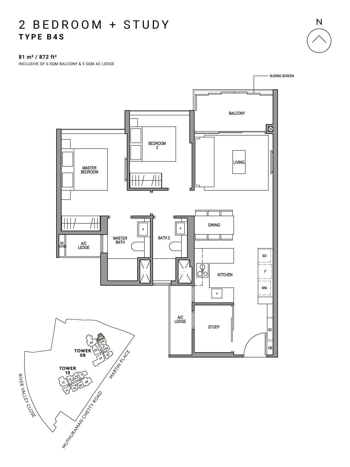 Martin Modern Floor Plan 2 Bedroom + Study Type B4S
