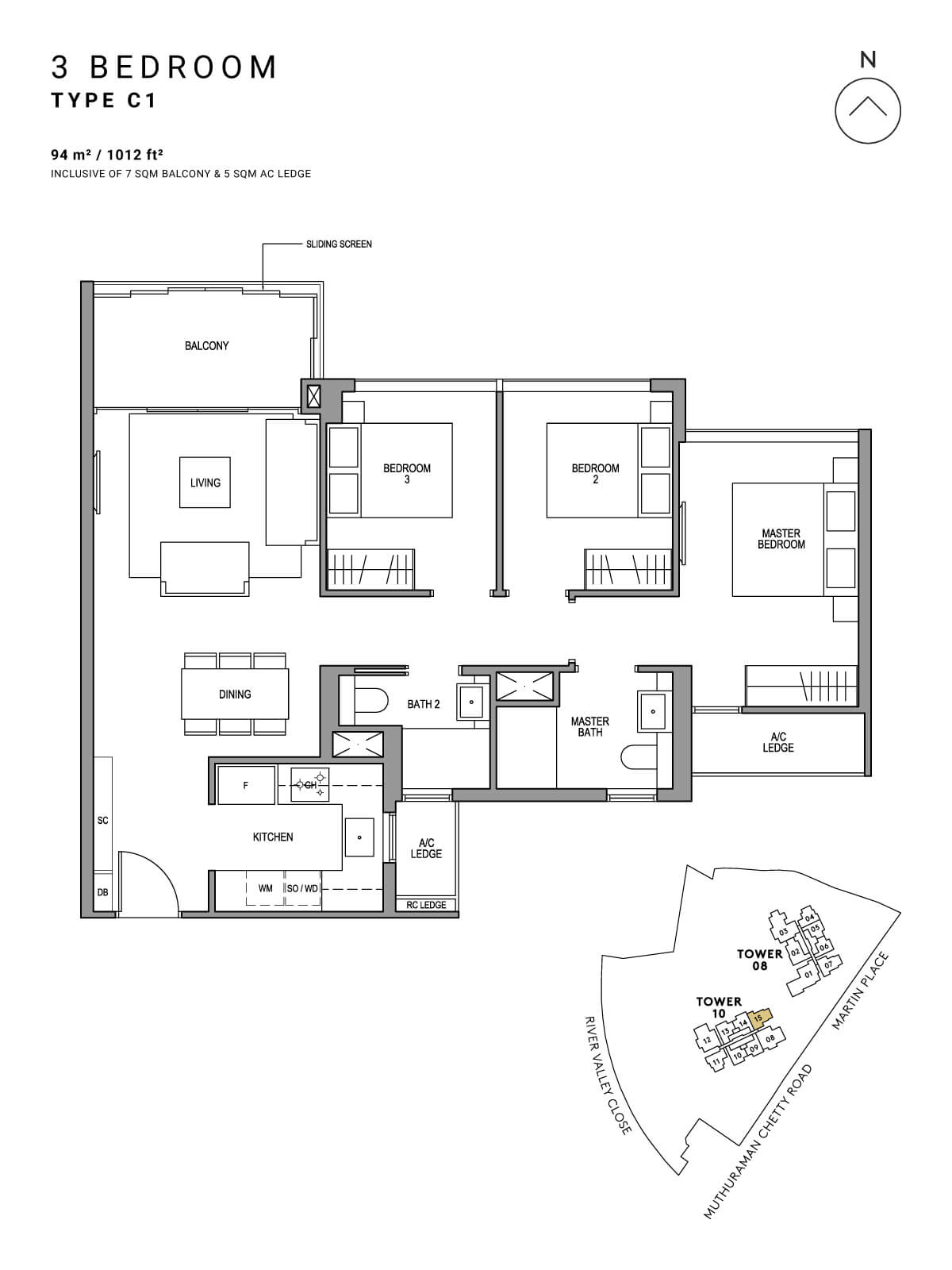 Martin Modern Floor Plan 3 Bedroom Type C1