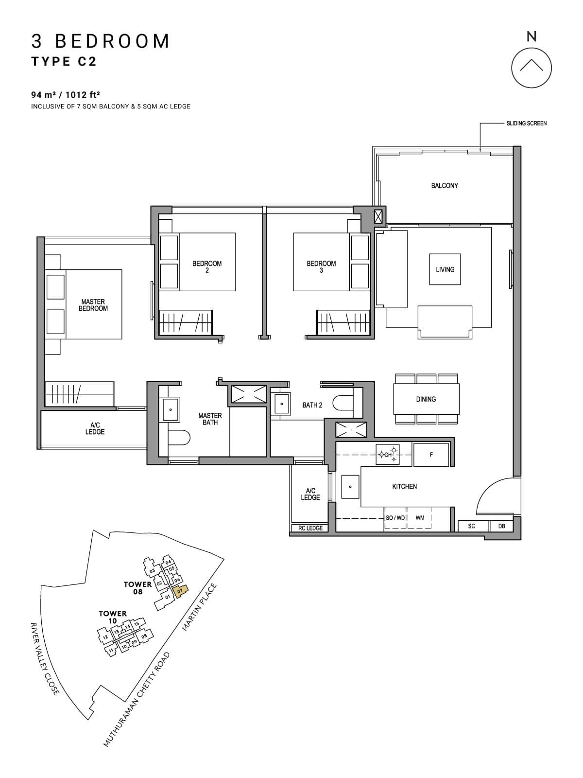 Martin Modern Floor Plan 3 Bedroom Type C2
