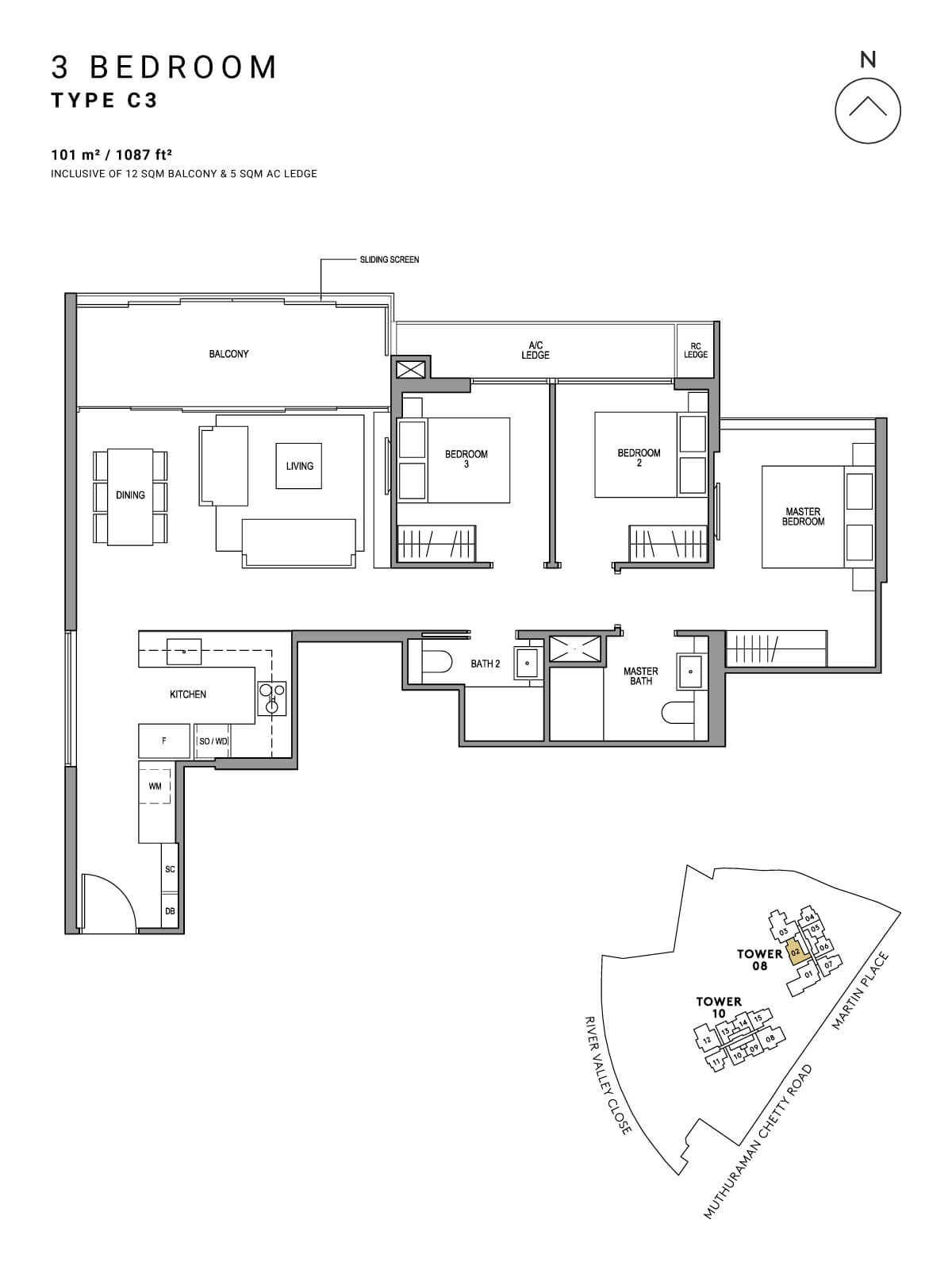 Martin Modern Floor Plan 3 Bedroom Type C3