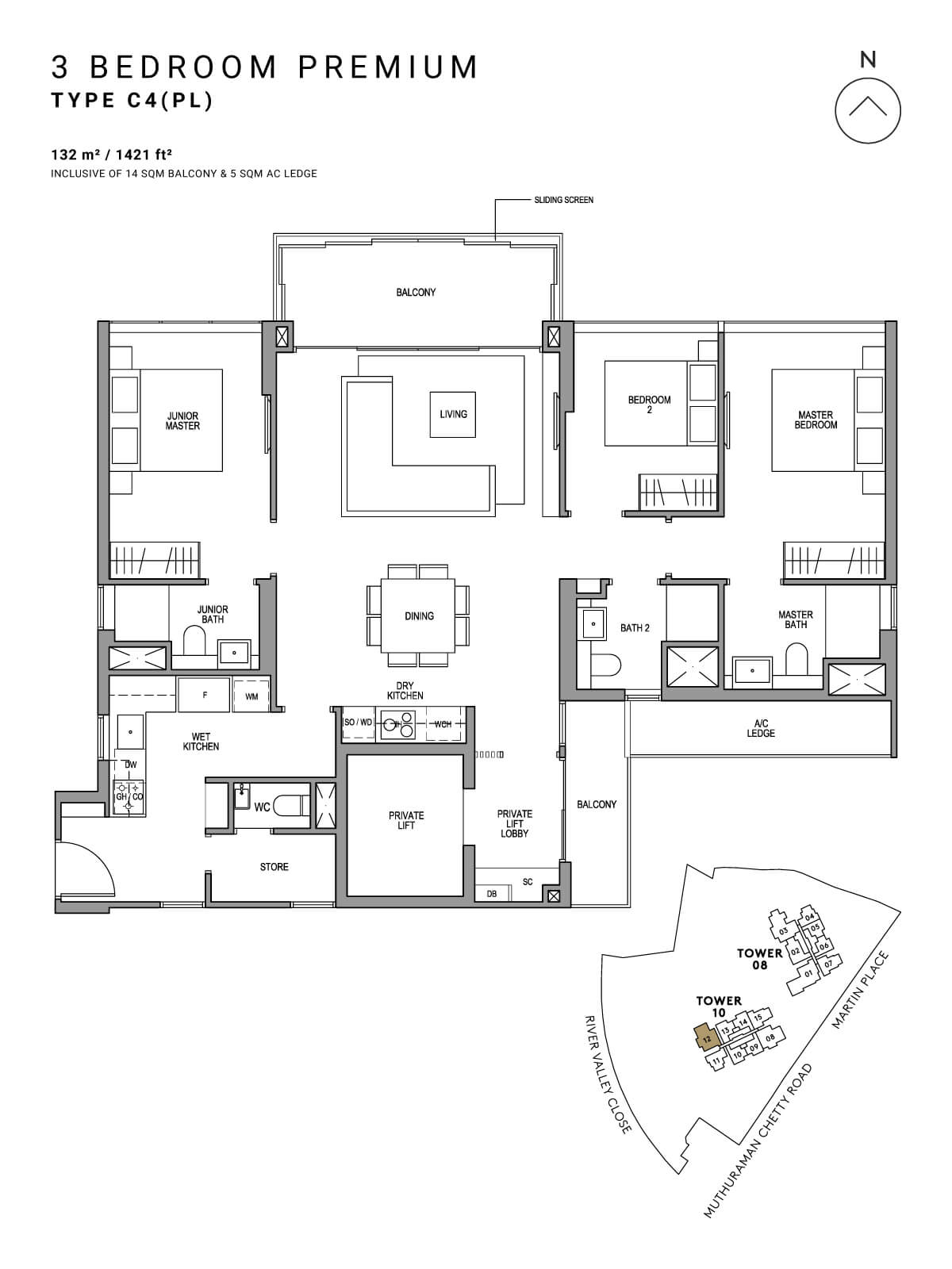 Martin Modern Floor Plan 3 Bedroom Premium Type C4(PL)