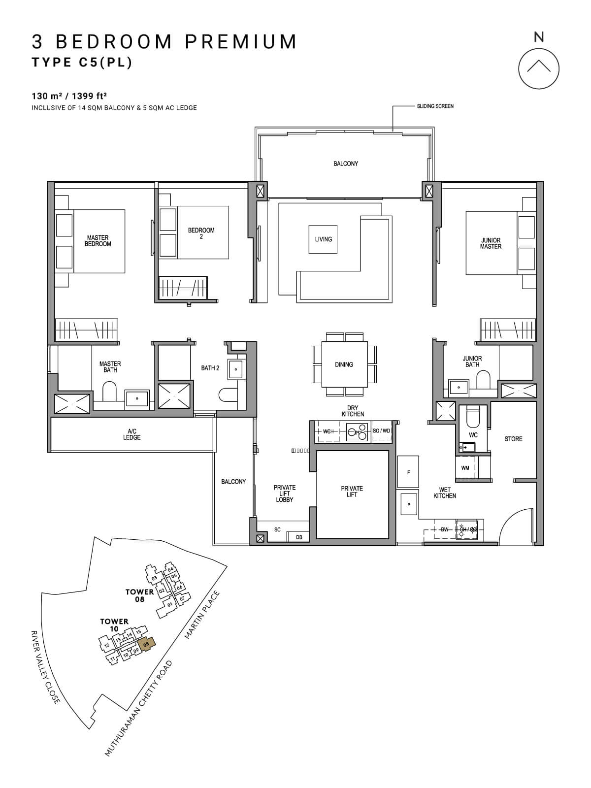 Martin Modern Floor Plan 3 Bedroom Premium Type C5(PL)