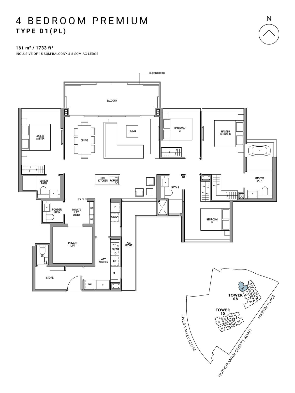 Martin Modern Floor Plan 4 Bedroom Premium Type D1(PL)