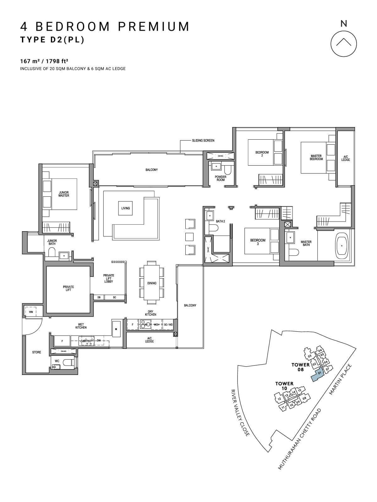Martin Modern Floor Plan 4 Bedroom Premium Type D2(PL)