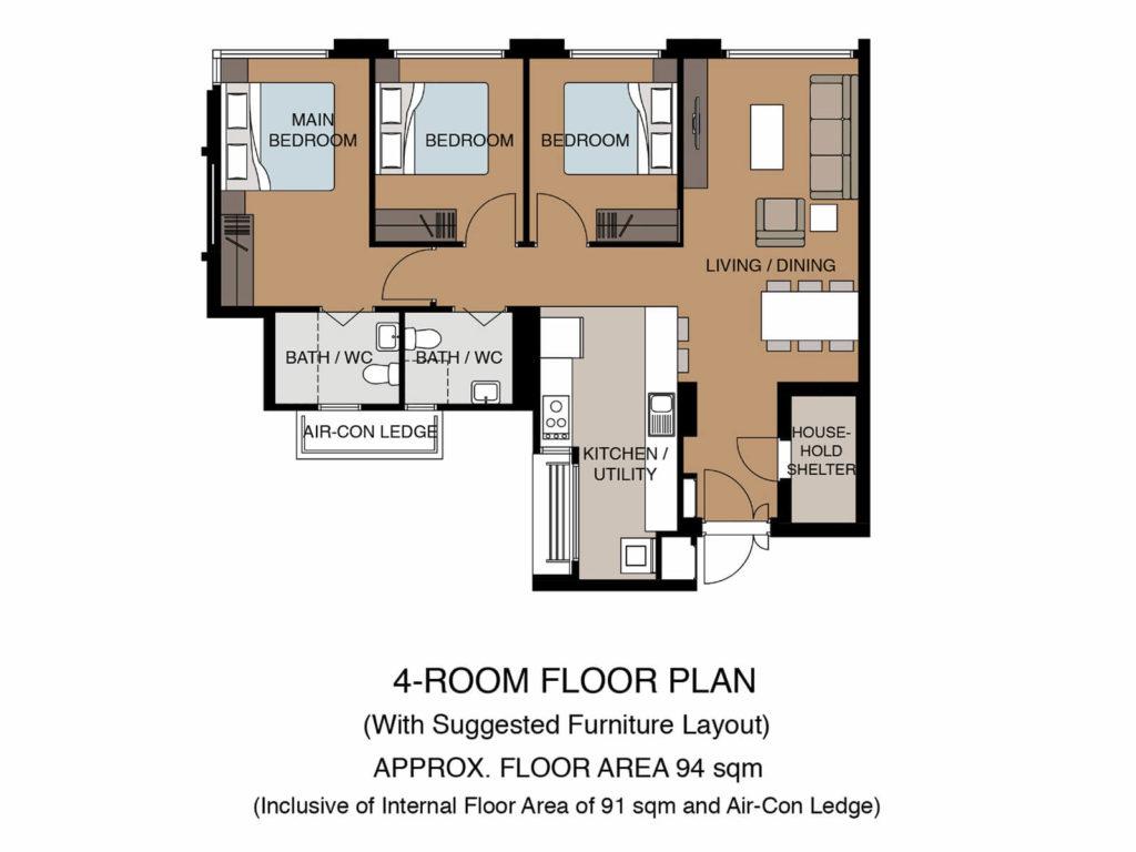 Tampines Green Glen Floor Plan 4Room