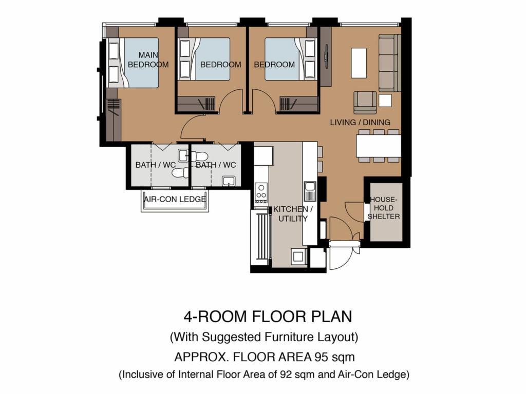 Tampines Green Glen Floor Plan 4Room-2