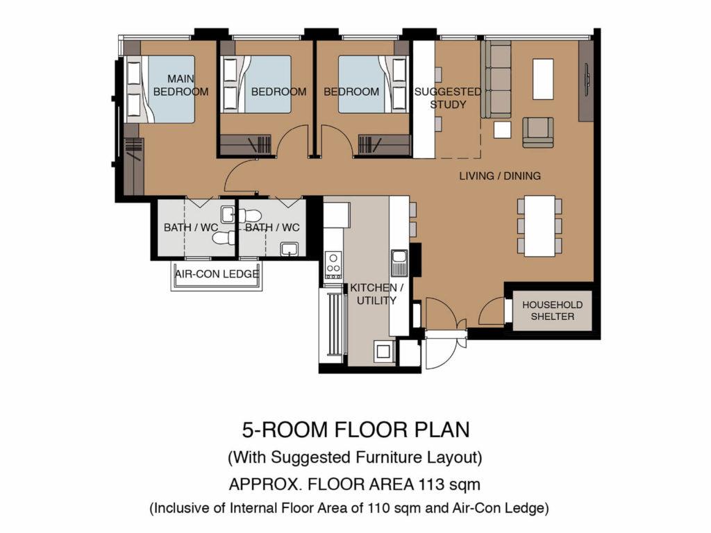 Tampines GreenGlen Floor Plan 5Room