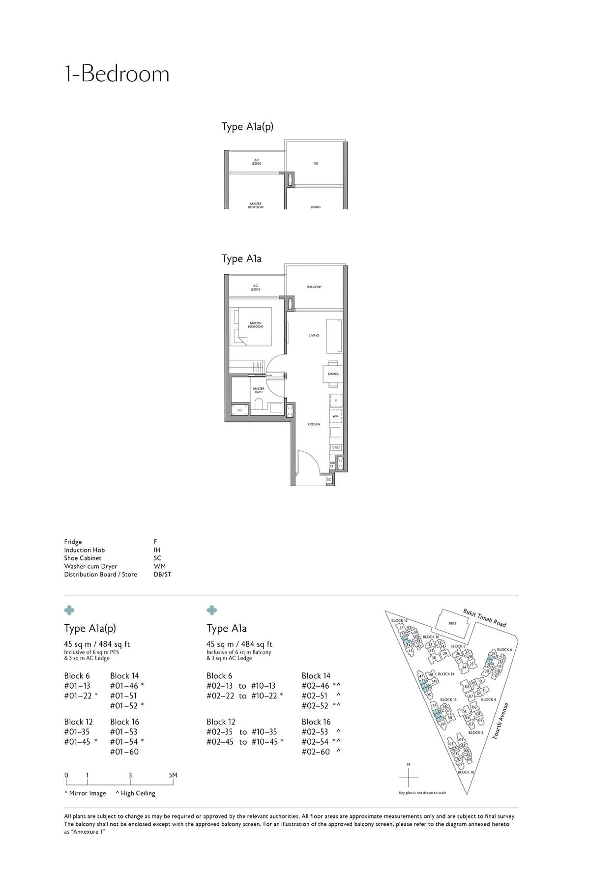 Fourth Avenue Residences Floor Plan 1 Bedroom Type A1a