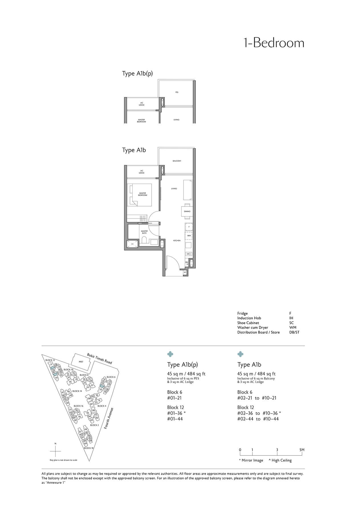 Fourth Avenue Residences Floor Plan 1 Bedroom Type A1b