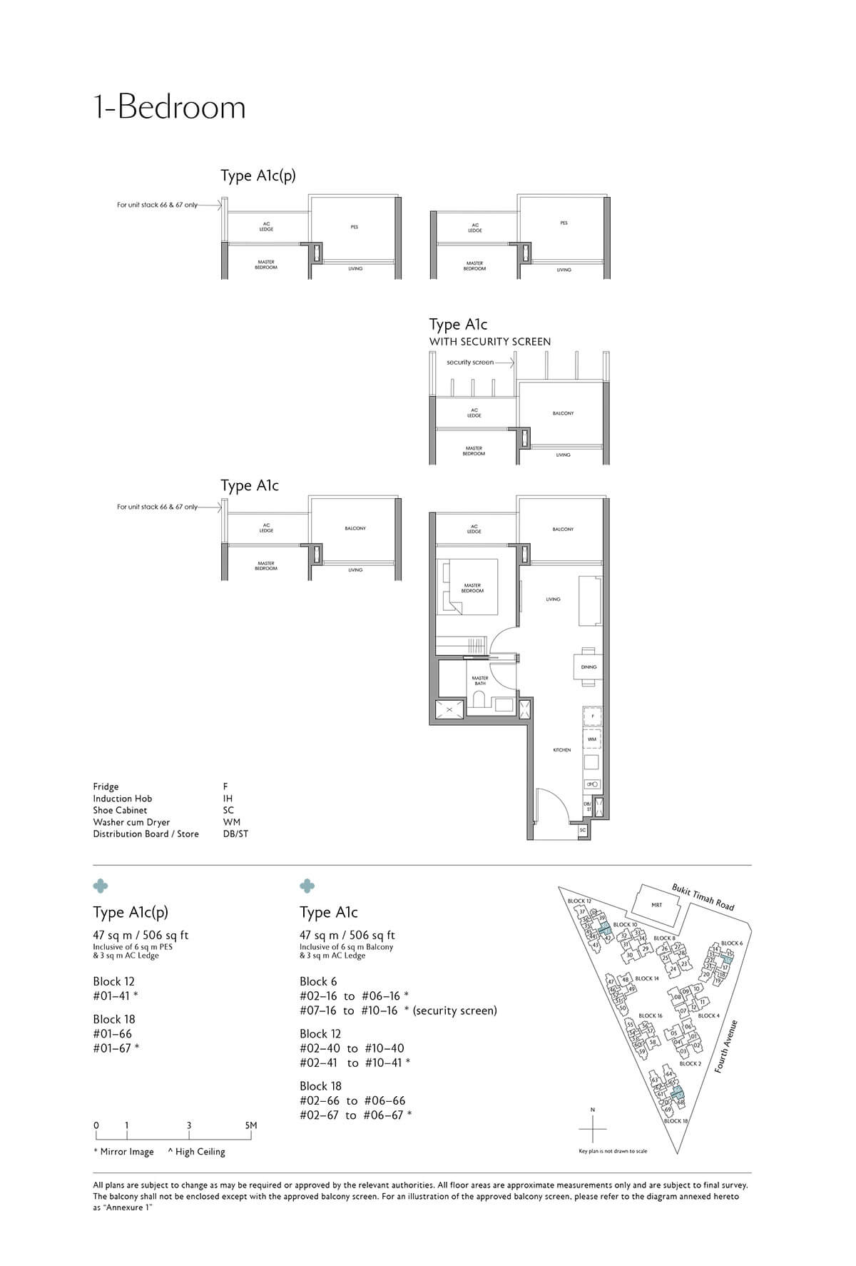 Fourth Avenue Residences Floor Plan 1 Bedroom Type A1c