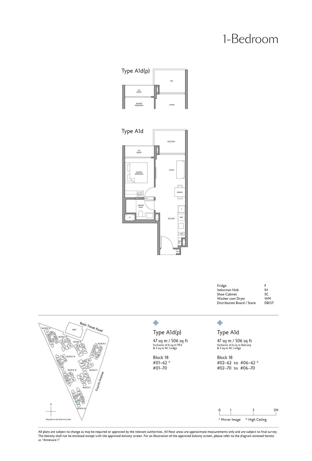 Fourth Avenue Residences Floor Plan 1 Bedroom Type A1d