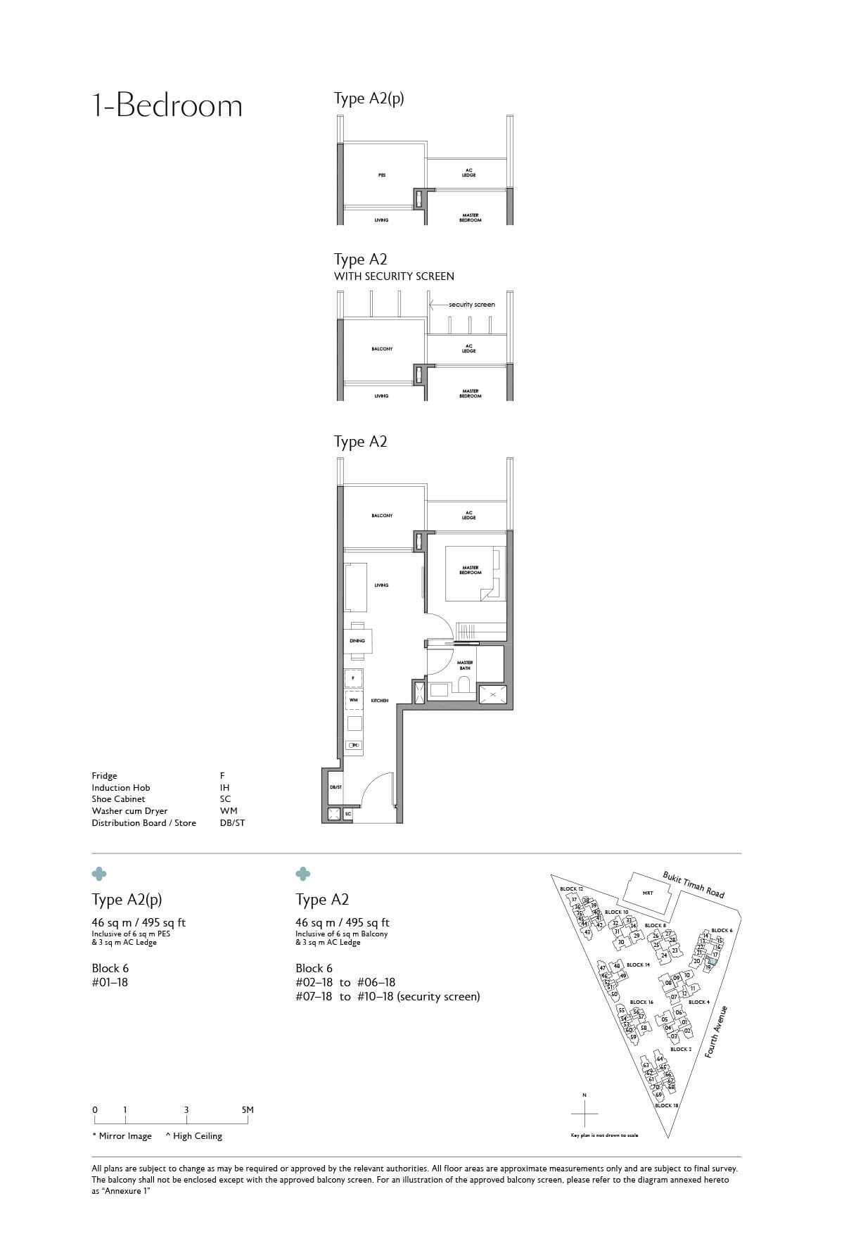 Fourth Avenue Residences Floor Plan 1 Bedroom Type A2