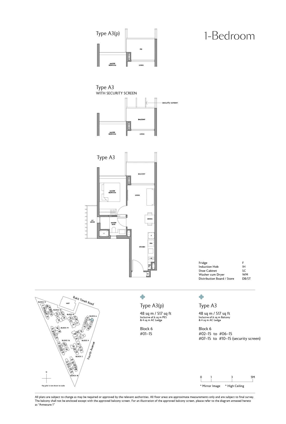 Fourth Avenue Residences Floor Plan 1 Bedroom Type A3
