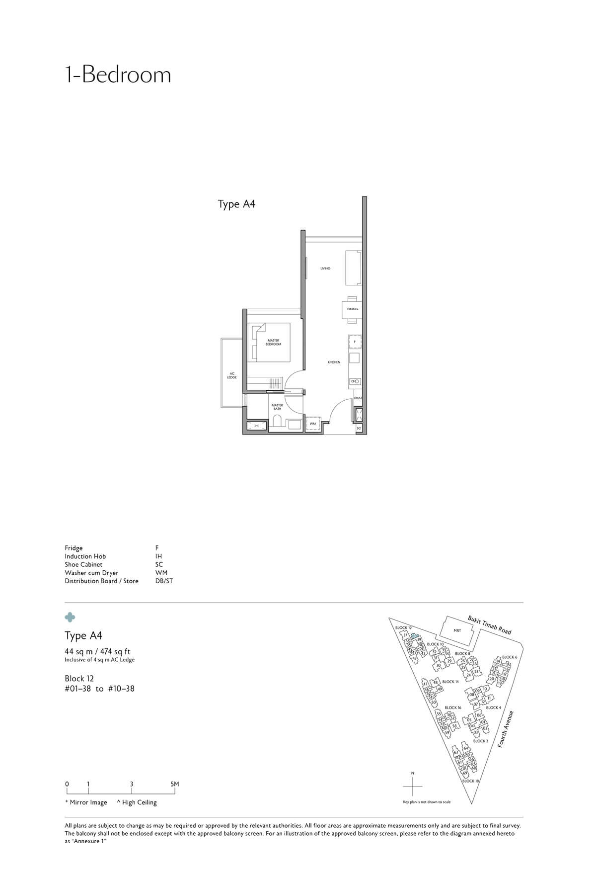 Fourth Avenue Residences Floor Plan 1 Bedroom Type A4