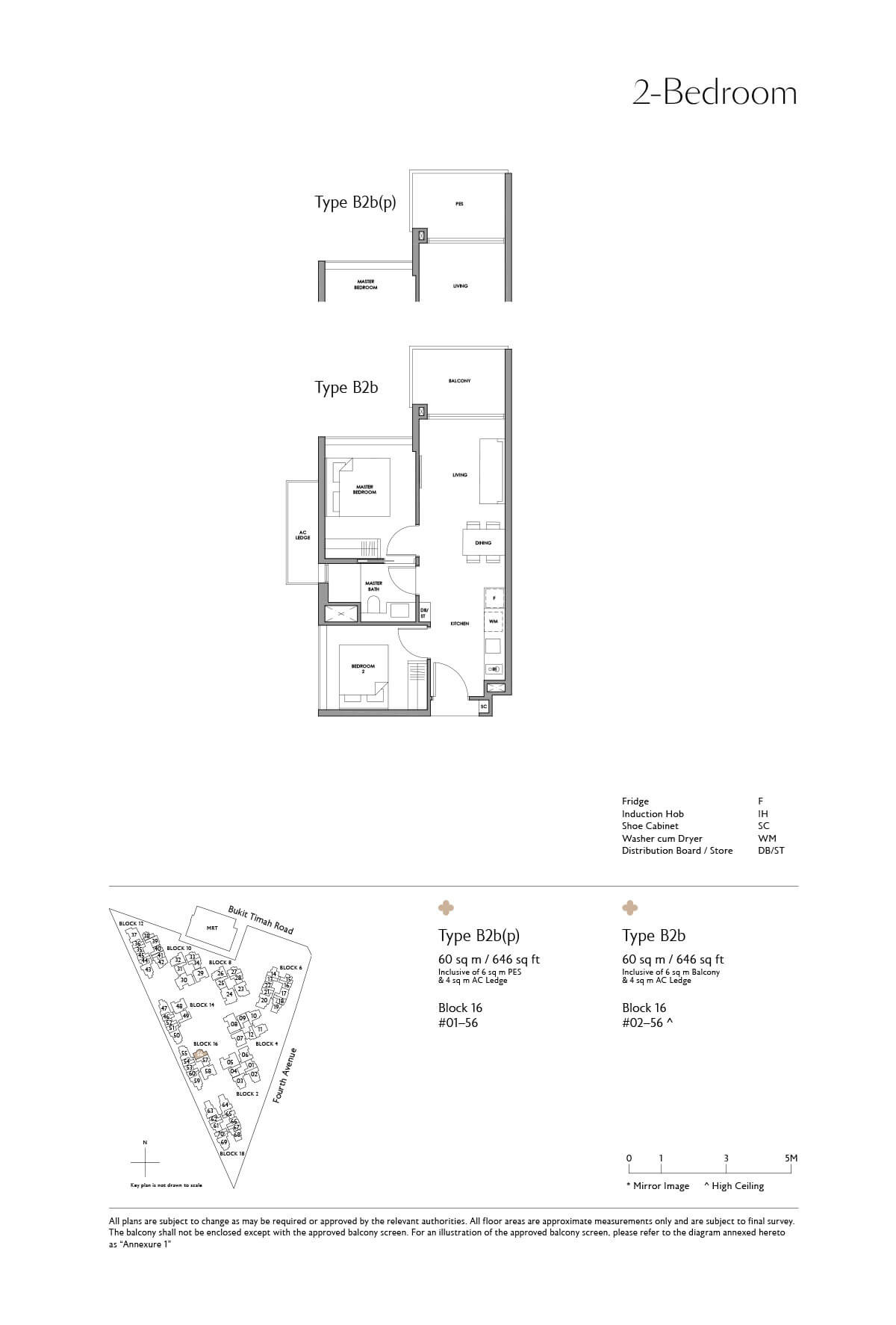 Fourth Avenue Residences Floor Plan 2 Bedroom Type B2b