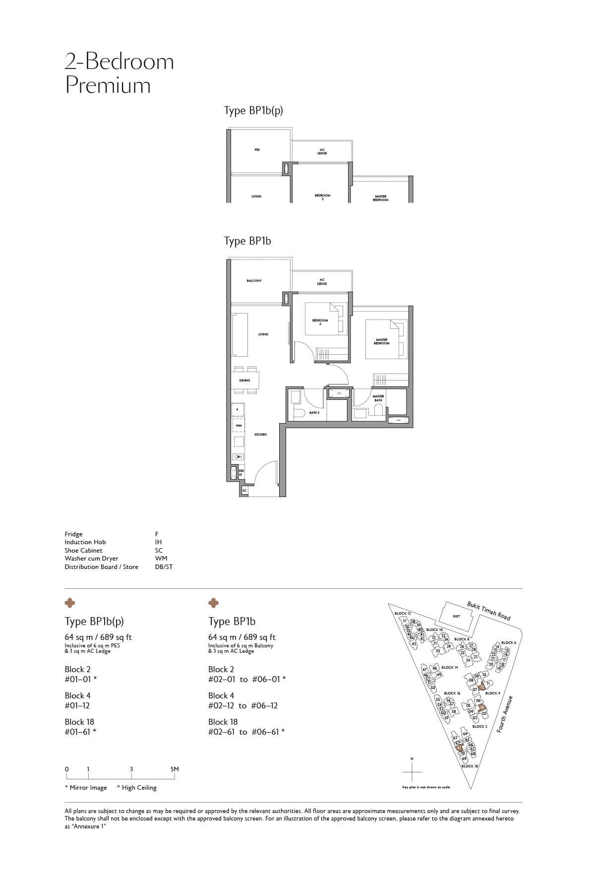 Fourth Avenue Residences Floor Plan 2 Bedroom Premium Type BP1b