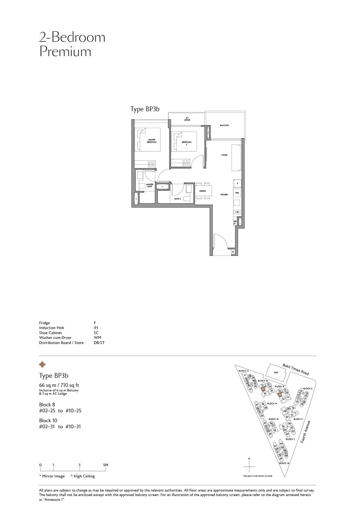 Fourth Avenue Residences Floor Plan 2 Bedroom Premium Type BP3b